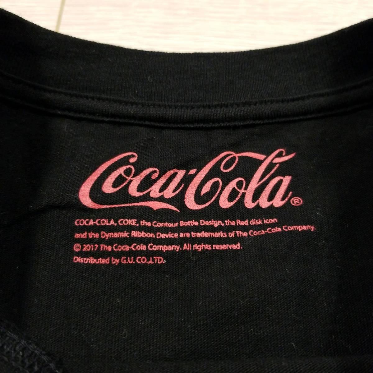 K218 GU ジーユー コカ・コーラ Tシャツ M レディース 半袖 カットソー ロゴ 黒系 綿100% コットン..