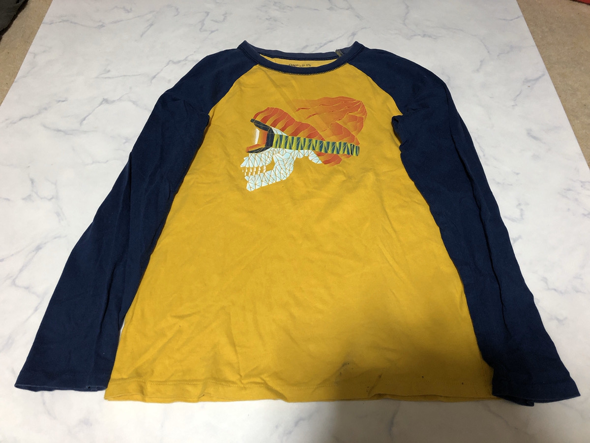 GAP ギャップ キッズ Tシャツ 長袖 イエロー×ネイビー系 トップス シンプルデザイン 着心地良い XXLサイズ 160cm【アウトレット】Q9_画像1