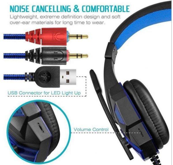 h229 ゲーミングステレオヘッドホン ゲーム ヘッドセット 高音質 マイク LEDライト 快適装着 PC/PS4/XBOX_画像4
