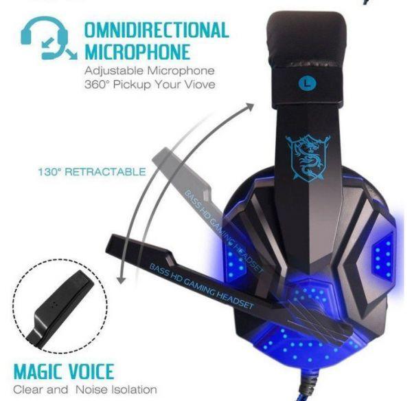 h229 ゲーミングステレオヘッドホン ゲーム ヘッドセット 高音質 マイク LEDライト 快適装着 PC/PS4/XBOX_画像3