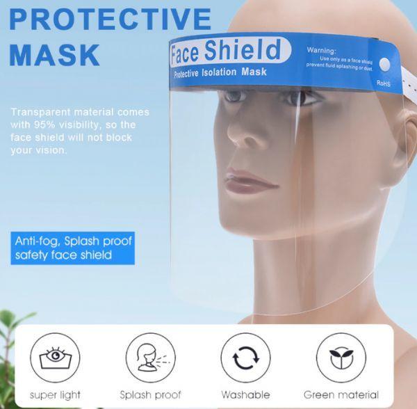 h232 フェイスシールド 5個パック! コロナウイルス対策 花粉症対策 防塵 防水 飛沫防止 透明 防雲 バイザー 医療用 調節可能ホルダー付き_画像1