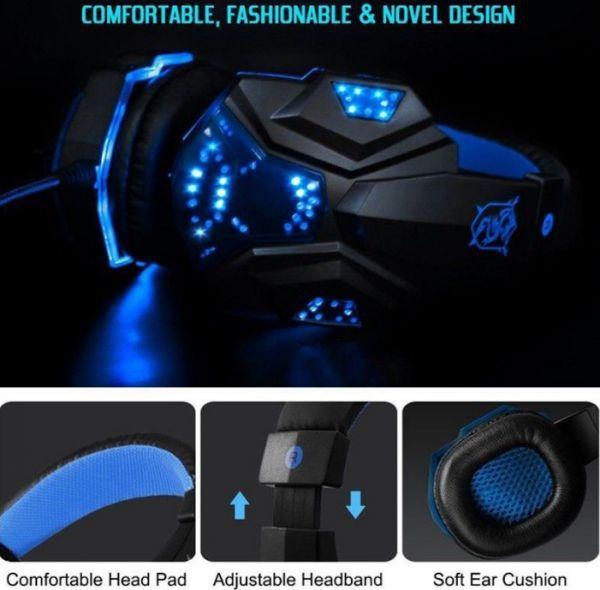 h229 ゲーミングステレオヘッドホン ゲーム ヘッドセット 高音質 マイク LEDライト 快適装着 PC/PS4/XBOX_画像6