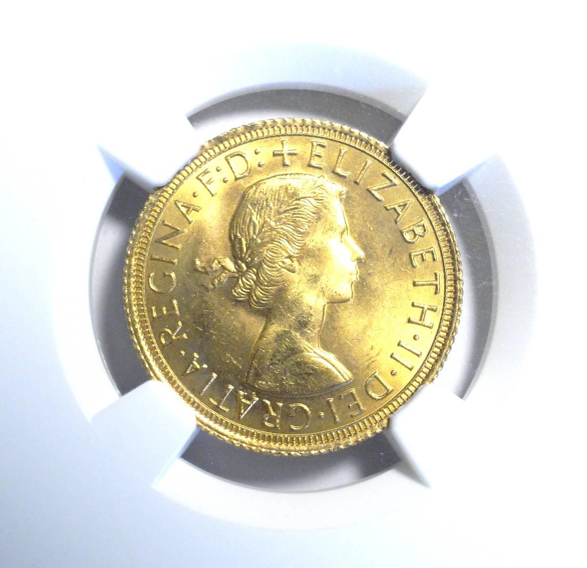 【大人気!!】1966 イギリス ソブリン金貨 NGC MS64 ヤングエリザベス 聖ジョージの竜退治 英国