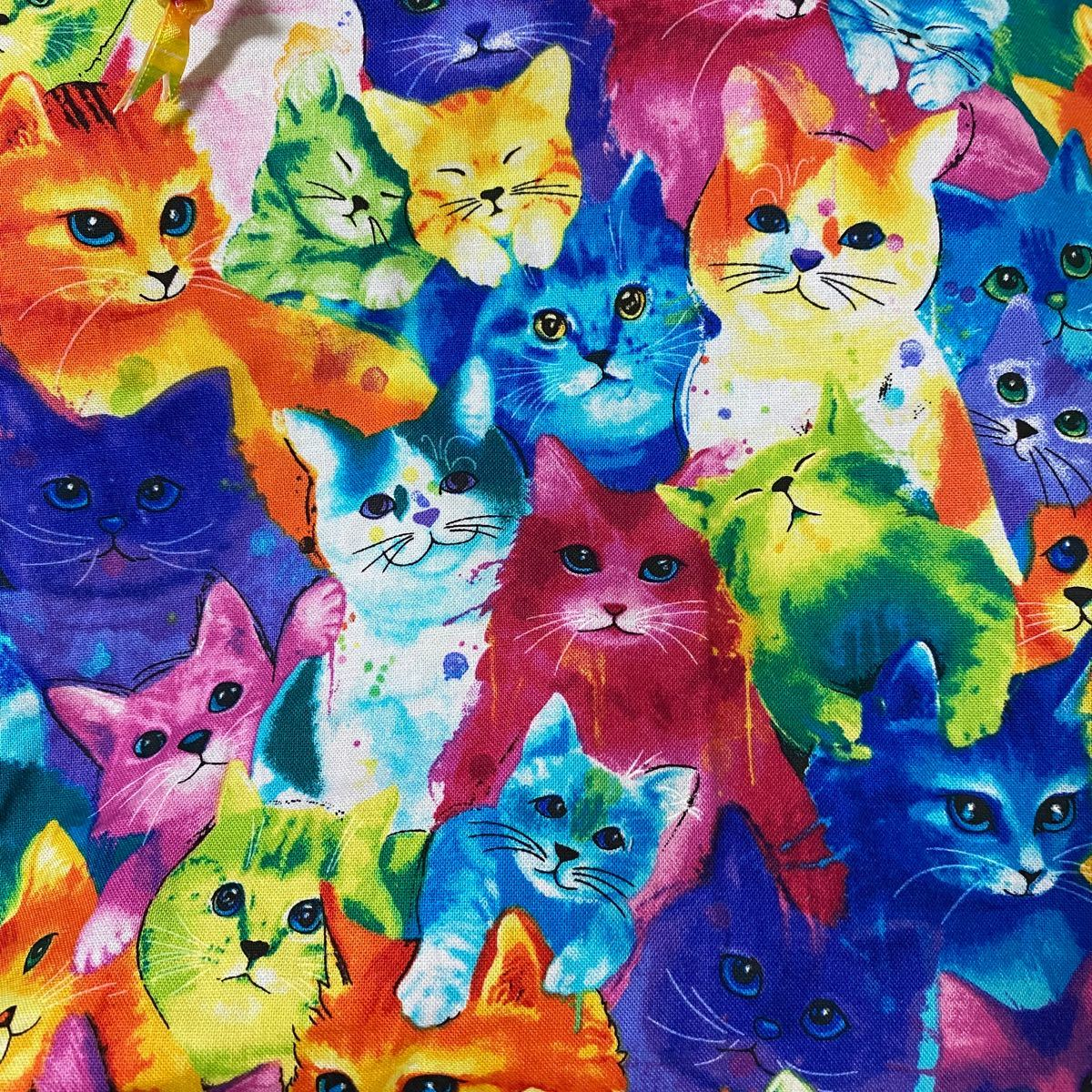ハンドメイド ランチバッグ トートバッグ 巾着 ネオン 猫 総柄