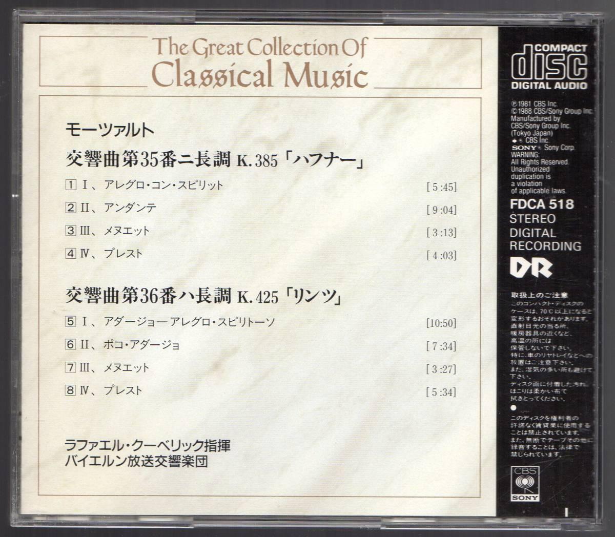 CD モーツァルト:交響曲第35番「ハフナー」、第36番「リンツ」  ラファエル・クーベリック指揮 バイエルン放送交響楽団 _画像2