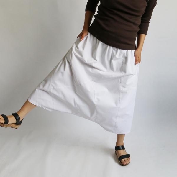 SALE。「愉快なパンツ」83cm丈 コットン100% パッチワーク サルエル ホワイト F41_画像3