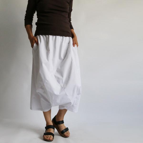 SALE。「愉快なパンツ」83cm丈 コットン100% パッチワーク サルエル ホワイト F41_画像1