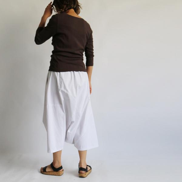 SALE。「愉快なパンツ」83cm丈 コットン100% パッチワーク サルエル ホワイト F41_画像9