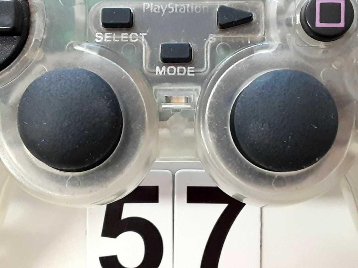 ソニー SONY PS1 プレイステーション プレステ ゲーム コントローラー HORI ホリ アナ振パッド 2個セット スケルトン 中古_画像5