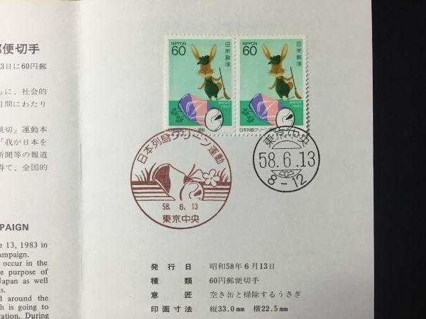 1932希少1983全日本郵便切手普及協会記念切手解説書日本列島クリーン運動2連東京FDC初日記念カバー使用済消印初日印記念印特印風景印ハト印_画像2