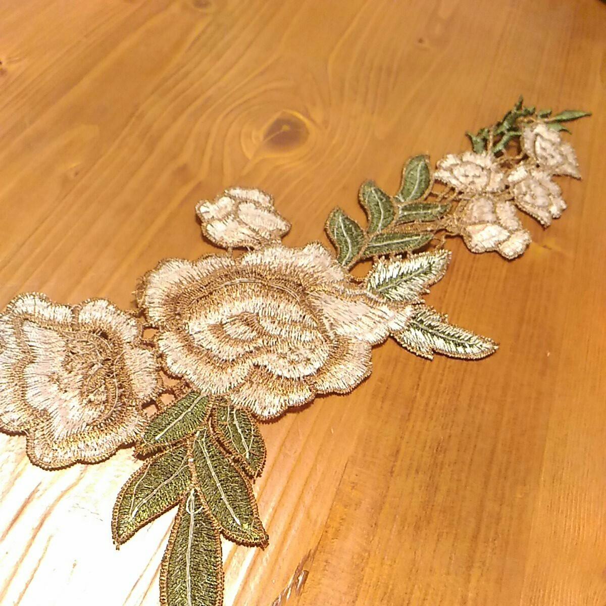 再値下げ 刺繍 花 ハンドメイド