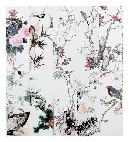 しおり 美しい絵画風 紙製 30枚セット (四季の草花と鳥) 事務、店舗用品&文房具&その他