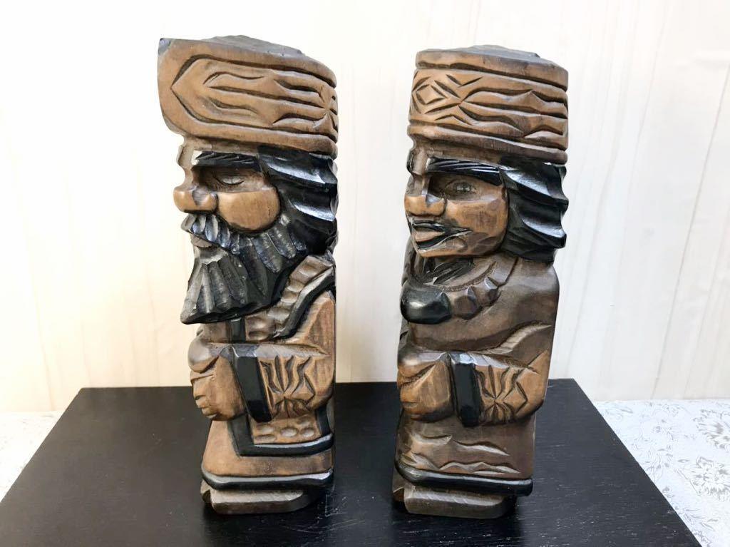 古い 木製 大きめ アイヌ人形 木彫り 一対 夫婦 北海道 二ポポ 31㎝ こけし 郷土玩具 民芸品 お土産 置物 飾り物 レトロ_画像7
