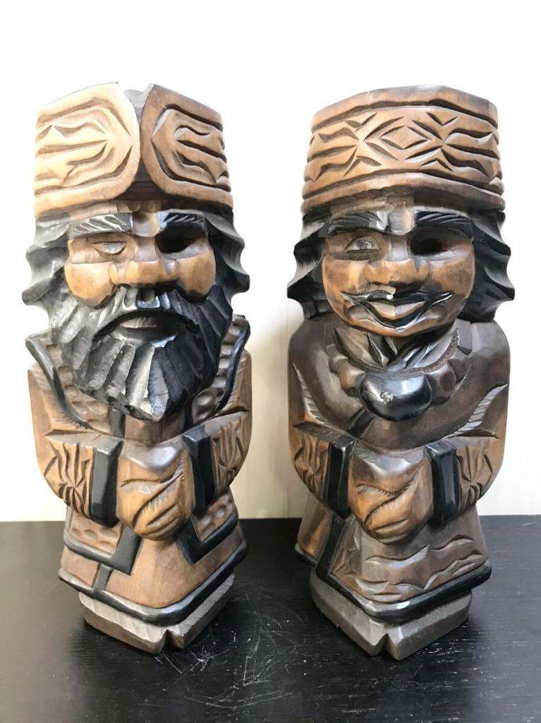 古い 木製 大きめ アイヌ人形 木彫り 一対 夫婦 北海道 二ポポ 31㎝ こけし 郷土玩具 民芸品 お土産 置物 飾り物 レトロ_画像1