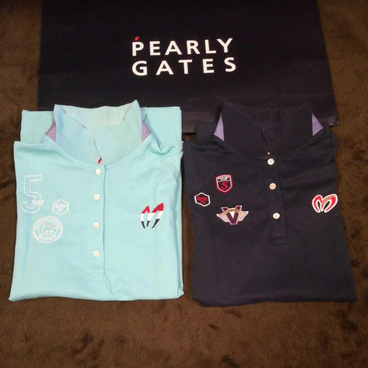 中古 正規品 マスターバニー パーリーゲイツ サイズ2 高品質エアロタッシェ素材 高機能 ポロシャツ 2枚セット 送料無料_画像1