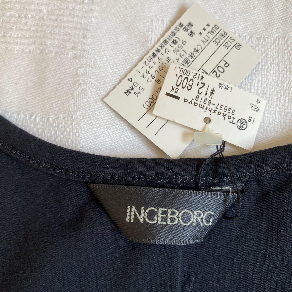 未使用タグ付◆ インゲボルグ INGEBORG◆花柄 刺繍 カットソー 黒 ブラック トップス a20052306