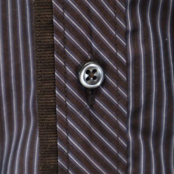 ザラマン ストライプ 長袖 ボタンダウンシャツ US S ブラウン ZARA MAN スリムフィット メンズ 200521_ザラマン ストライプ 長袖 ボタ 詳細4