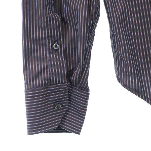 ザラマン ストライプ 長袖 ボタンダウンシャツ US S ブラウン ZARA MAN スリムフィット メンズ 200521_ザラマン ストライプ 長袖 ボタ 詳細1
