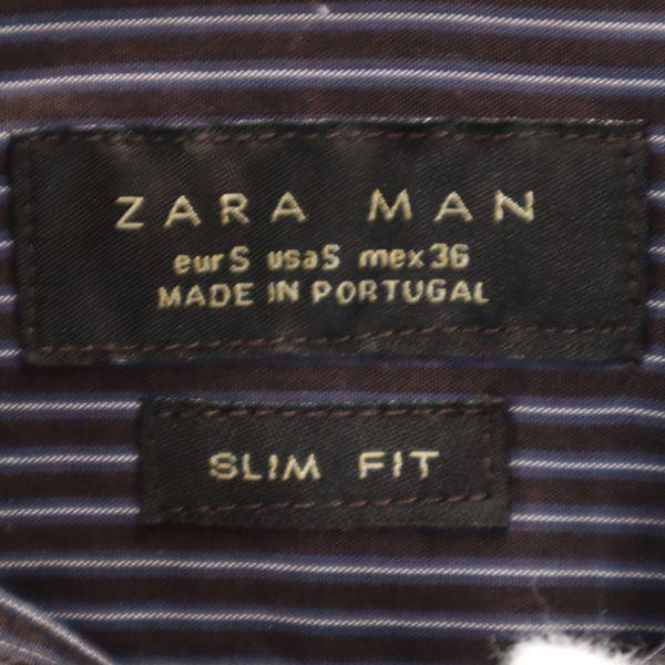 ザラマン ストライプ 長袖 ボタンダウンシャツ US S ブラウン ZARA MAN スリムフィット メンズ 200521_画像7