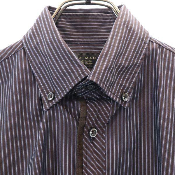ザラマン ストライプ 長袖 ボタンダウンシャツ US S ブラウン ZARA MAN スリムフィット メンズ 200521_ザラマン ストライプ 長袖 ボタ 詳細3