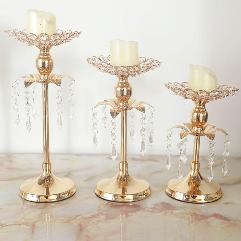 S1146 Peandim ゴールドクリスタルキャンドルホルダーの結婚式の装飾テーブルセンターピース燭台誕生日パーティー花瓶ホルダー家の装飾_画像2
