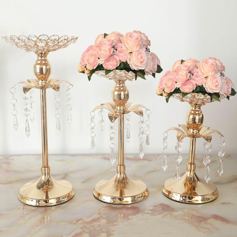 S1146 Peandim ゴールドクリスタルキャンドルホルダーの結婚式の装飾テーブルセンターピース燭台誕生日パーティー花瓶ホルダー家の装飾_画像3
