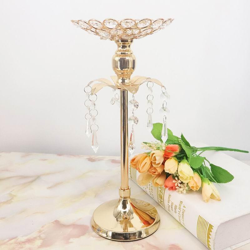 S1146 Peandim ゴールドクリスタルキャンドルホルダーの結婚式の装飾テーブルセンターピース燭台誕生日パーティー花瓶ホルダー家の装飾_画像4