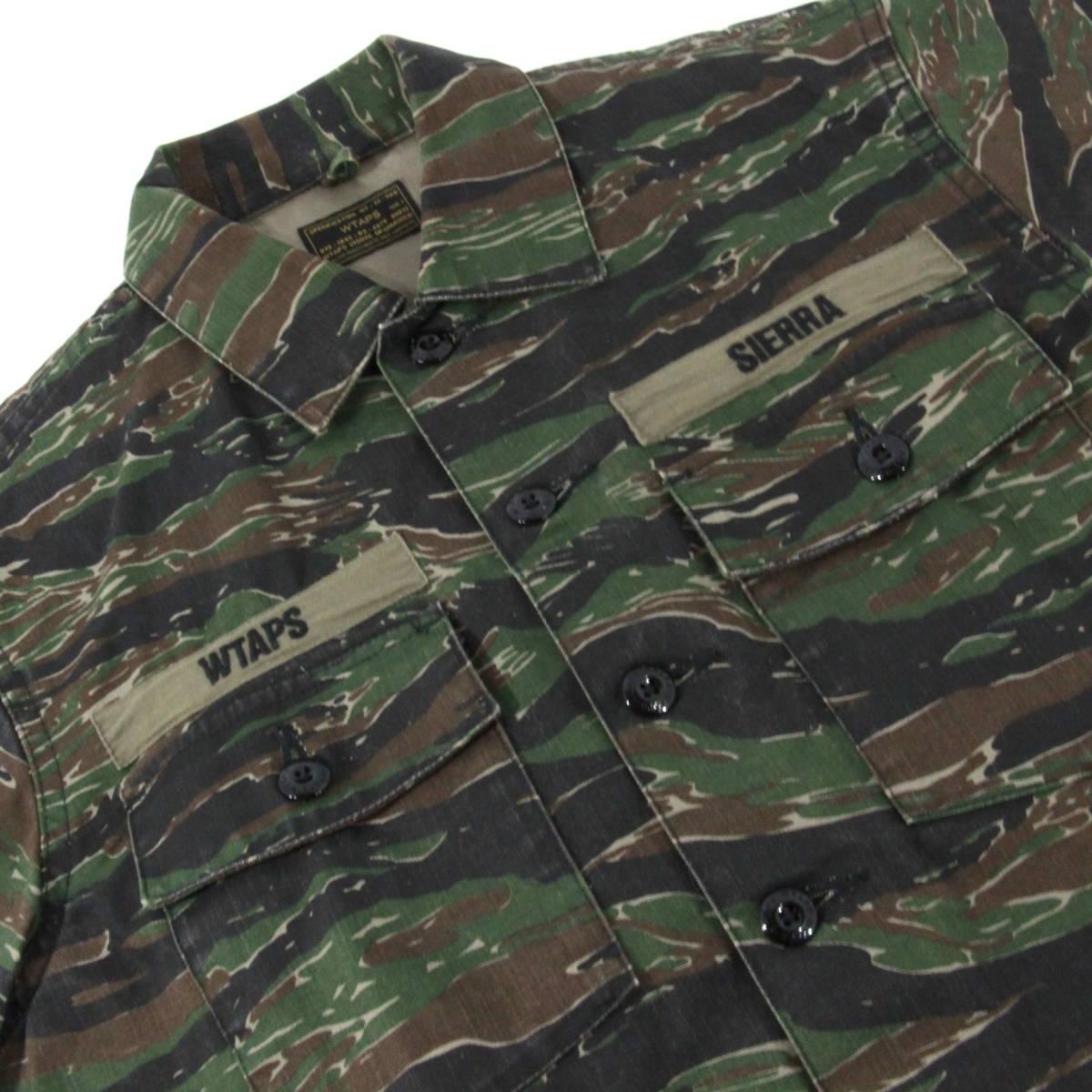 【即完売】WTAPS 17SS BUDS SS JUNGLE SHIRT TIGER STRIPE オーバーサイズ ミリタリーシャツ 1 S タイガーカモ 迷彩 ダブルタップス_画像4