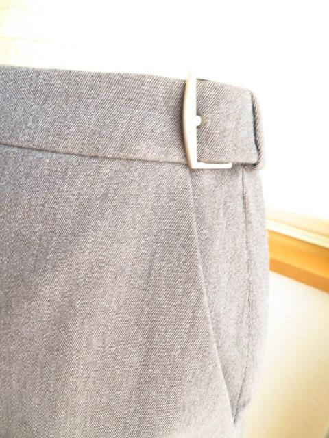 15万円程HERMESチャコールグレータイト膝下スカート34(SM相当)美品 エルメス/シルク×ウール/フランス製_画像3