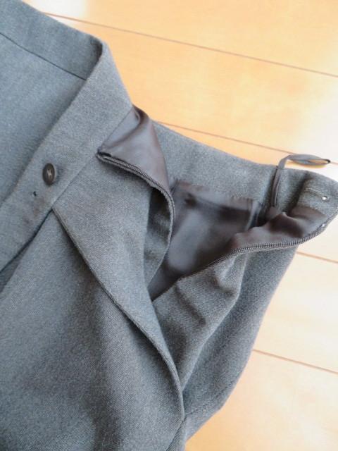 15万円程HERMESチャコールグレータイト膝下スカート34(SM相当)美品 エルメス/シルク×ウール/フランス製_画像5