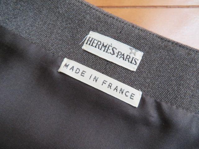 15万円程HERMESチャコールグレータイト膝下スカート34(SM相当)美品 エルメス/シルク×ウール/フランス製_画像6