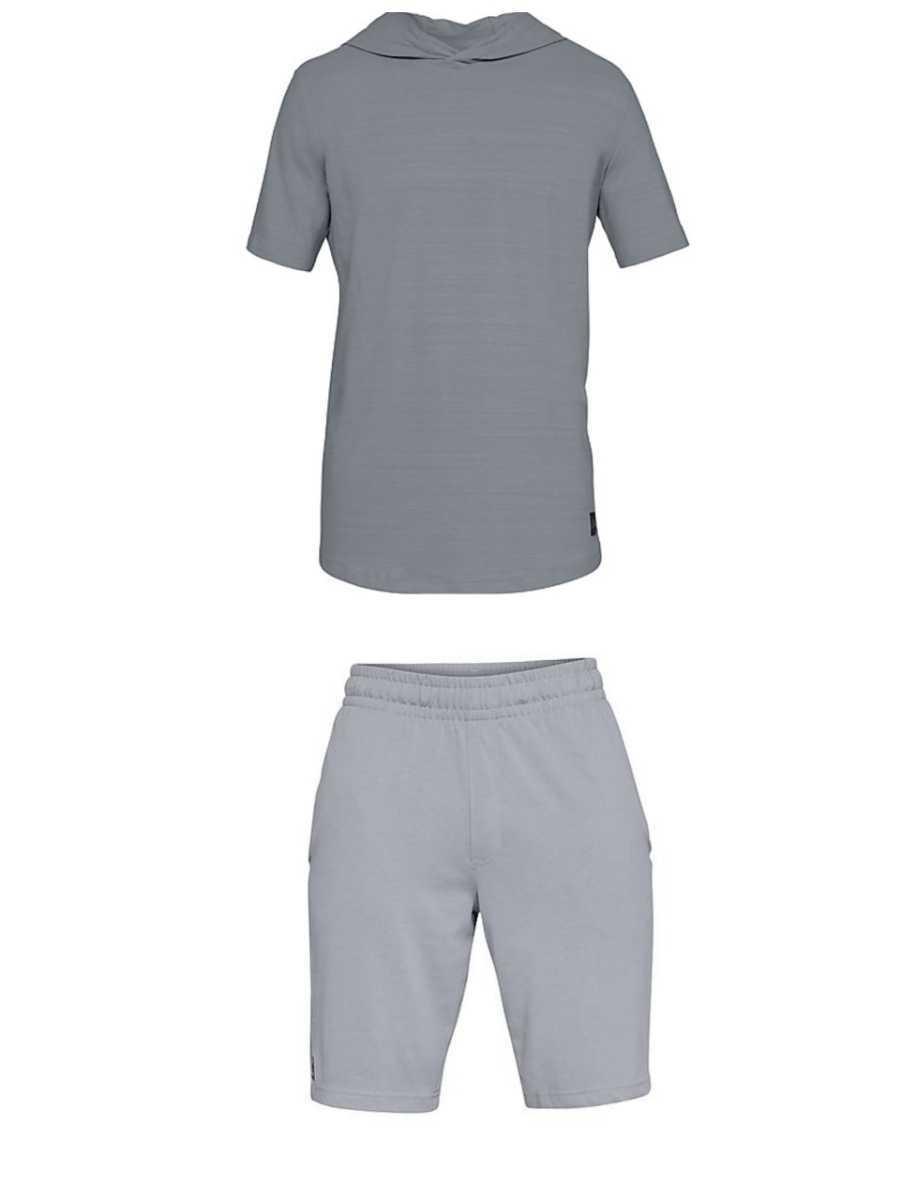 新品UNDER ARMOUR(アンダーアーマー)スポーツスタイル ショートスリーブフーディー シャツ パンツ 上下セット サイズSM_画像1