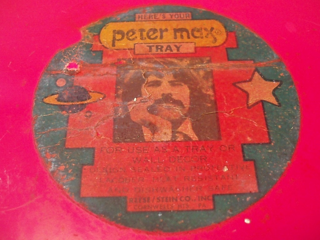 ●peter max TORAY トレイ(ピンク) ビンテージ ピーターマックス トレー 金属 雑貨 60'S 70'S ヒッピー アンティーク USA製 アメリカ製_画像4