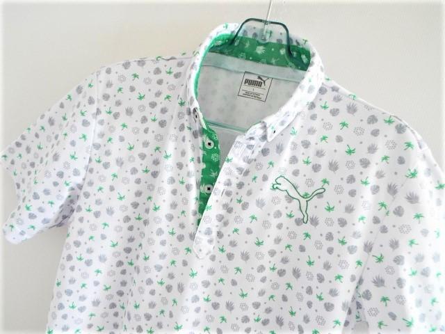 ★美品★PUMA Golf プーマ / ヤシ&ロゴマーク柄 プルオーバー ボタンダウンシャツ DRY /
