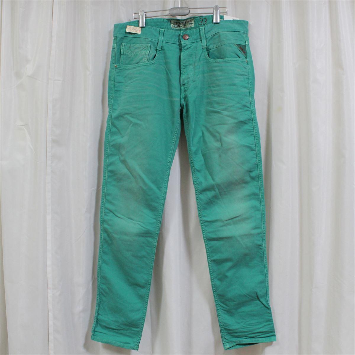 リプレイ REPLAY メンズカラーパンツ ジーンズ デニムパンツ SLIM グリーン 34インチ 新品 REPLAY BLUE JEANS anbass slim jeans_画像1