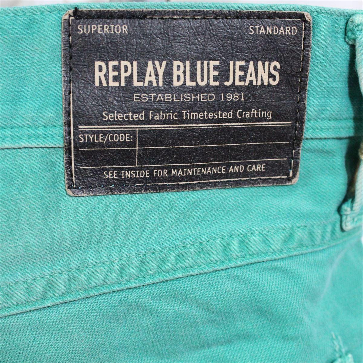 リプレイ REPLAY メンズカラーパンツ ジーンズ デニムパンツ SLIM グリーン 34インチ 新品 REPLAY BLUE JEANS anbass slim jeans_画像6