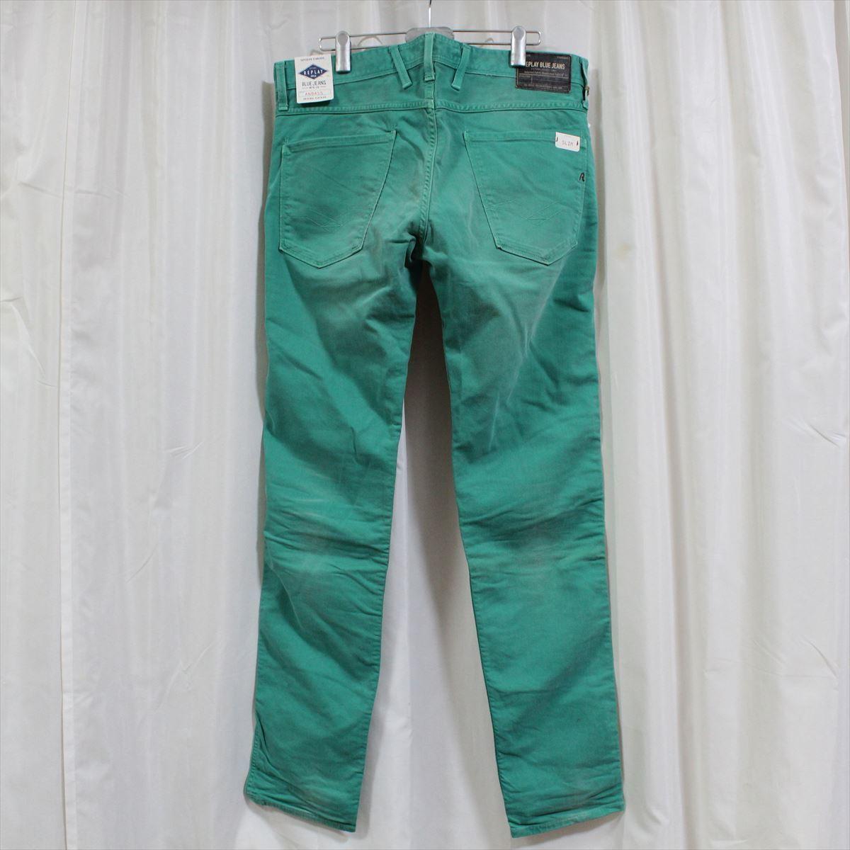 リプレイ REPLAY メンズカラーパンツ ジーンズ デニムパンツ SLIM グリーン 34インチ 新品 REPLAY BLUE JEANS anbass slim jeans_画像4