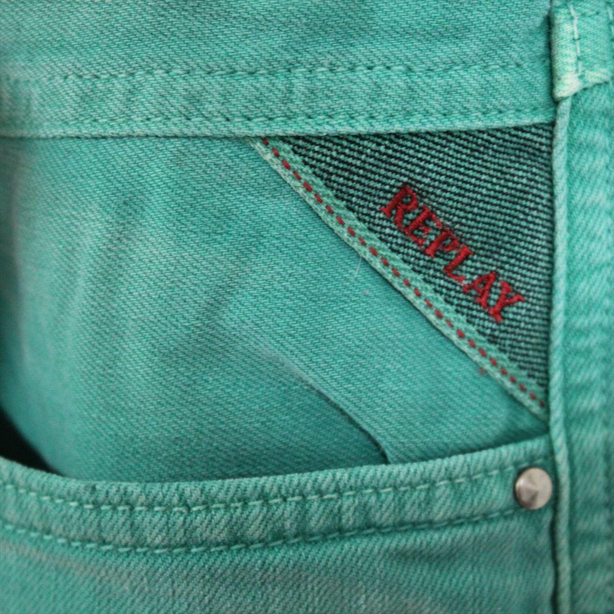 リプレイ REPLAY メンズカラーパンツ ジーンズ デニムパンツ SLIM グリーン 30インチ 新品 REPLAY BLUE JEANS anbass slim jeans_画像3
