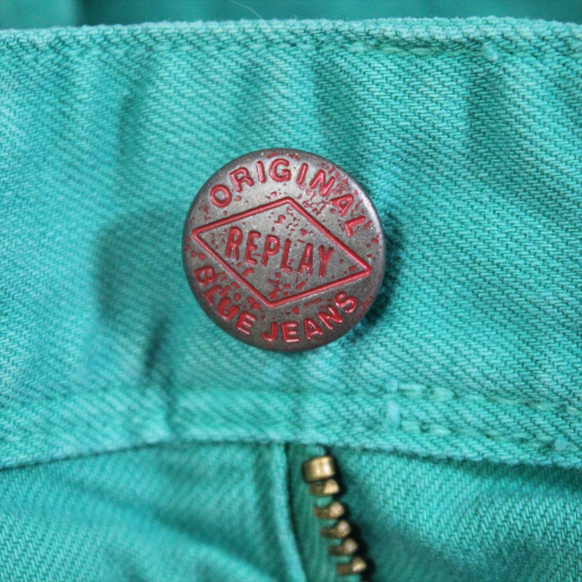 リプレイ REPLAY メンズカラーパンツ ジーンズ デニムパンツ SLIM グリーン 34インチ 新品 REPLAY BLUE JEANS anbass slim jeans_画像2