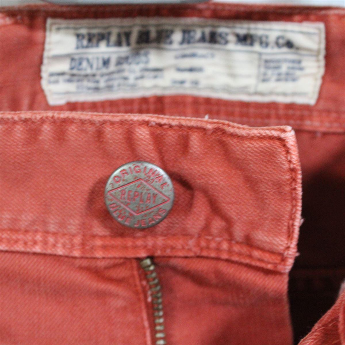 リプレイ REPLAY メンズカラーパンツ ジーンズ デニムパンツ SLIM レンガ色 28インチ 新品 REPLAY BLUE JEANS anbass slim jeans_画像3