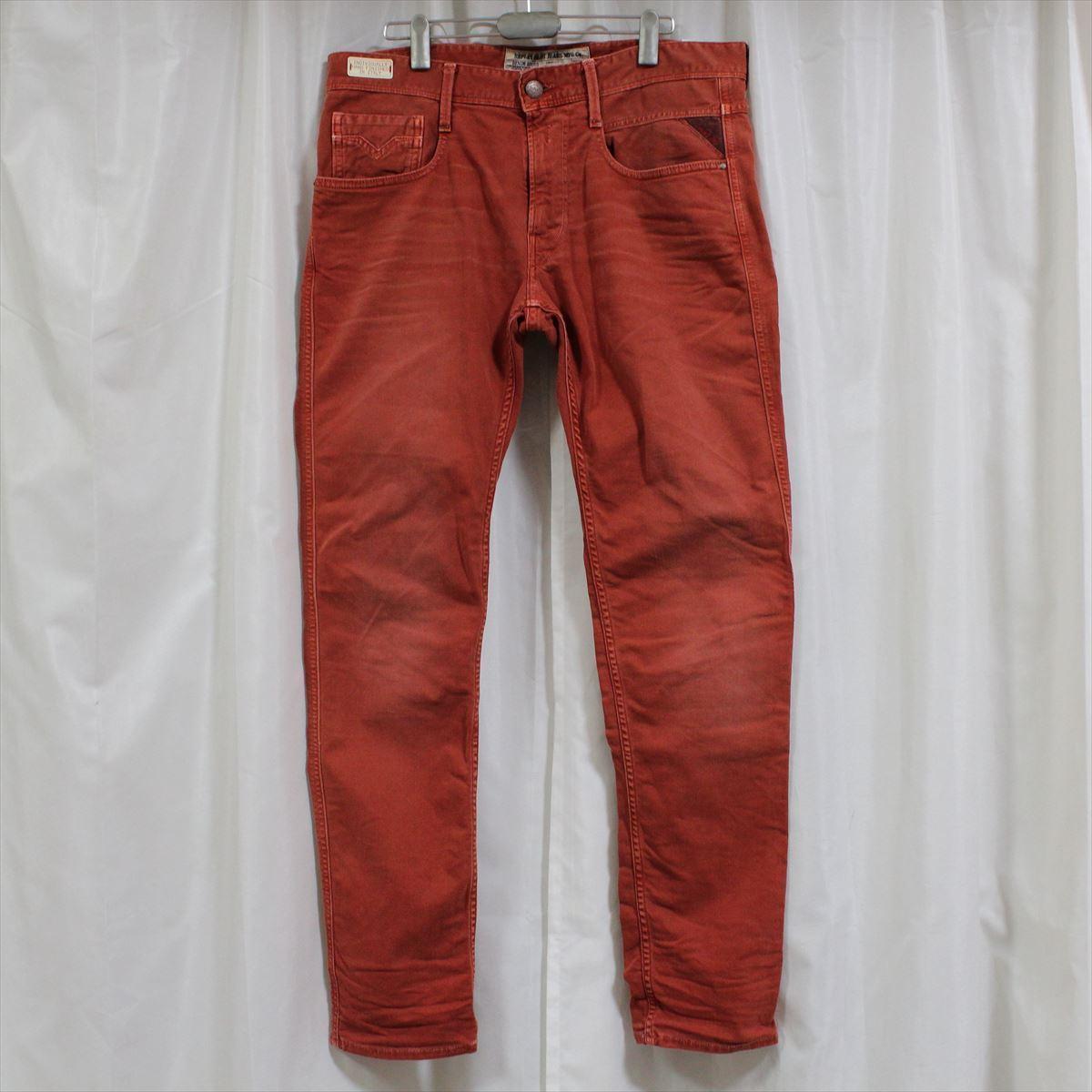 リプレイ REPLAY メンズカラーパンツ ジーンズ デニムパンツ SLIM レンガ色 29インチ 新品 REPLAY BLUE JEANS anbass slim jeans_画像1