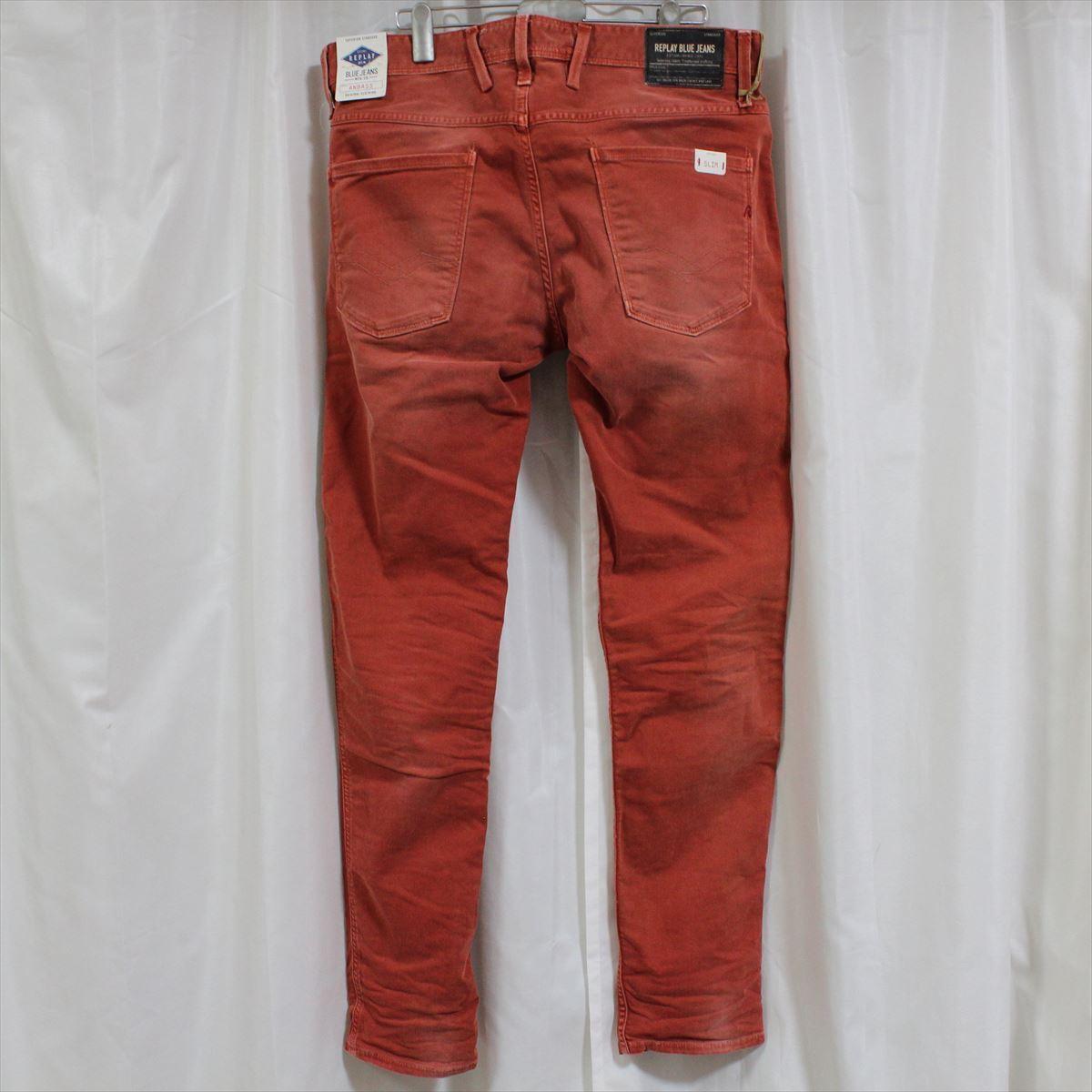リプレイ REPLAY メンズカラーパンツ ジーンズ デニムパンツ SLIM レンガ色 28インチ 新品 REPLAY BLUE JEANS anbass slim jeans_画像4