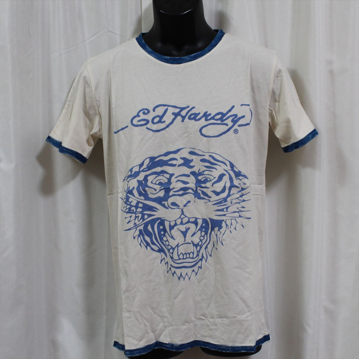 エドハーディー ED HARDY メンズ半袖Tシャツ Sサイズ PR091 TIGER 新品 ブルー_画像1