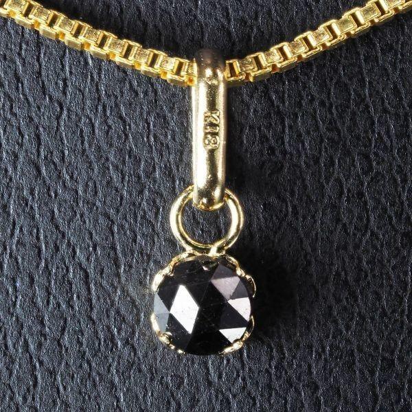 【18金製】 天然 ブラック ダイヤモンド 18金 ネックレス K18 刻印有 [プレゼントボックス付属可能] Dia-29 YG_画像3