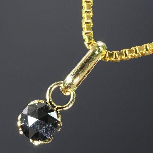 【18金製】 天然 ブラック ダイヤモンド 18金 ネックレス K18 刻印有 [プレゼントボックス付属可能] Dia-29 YG_画像1