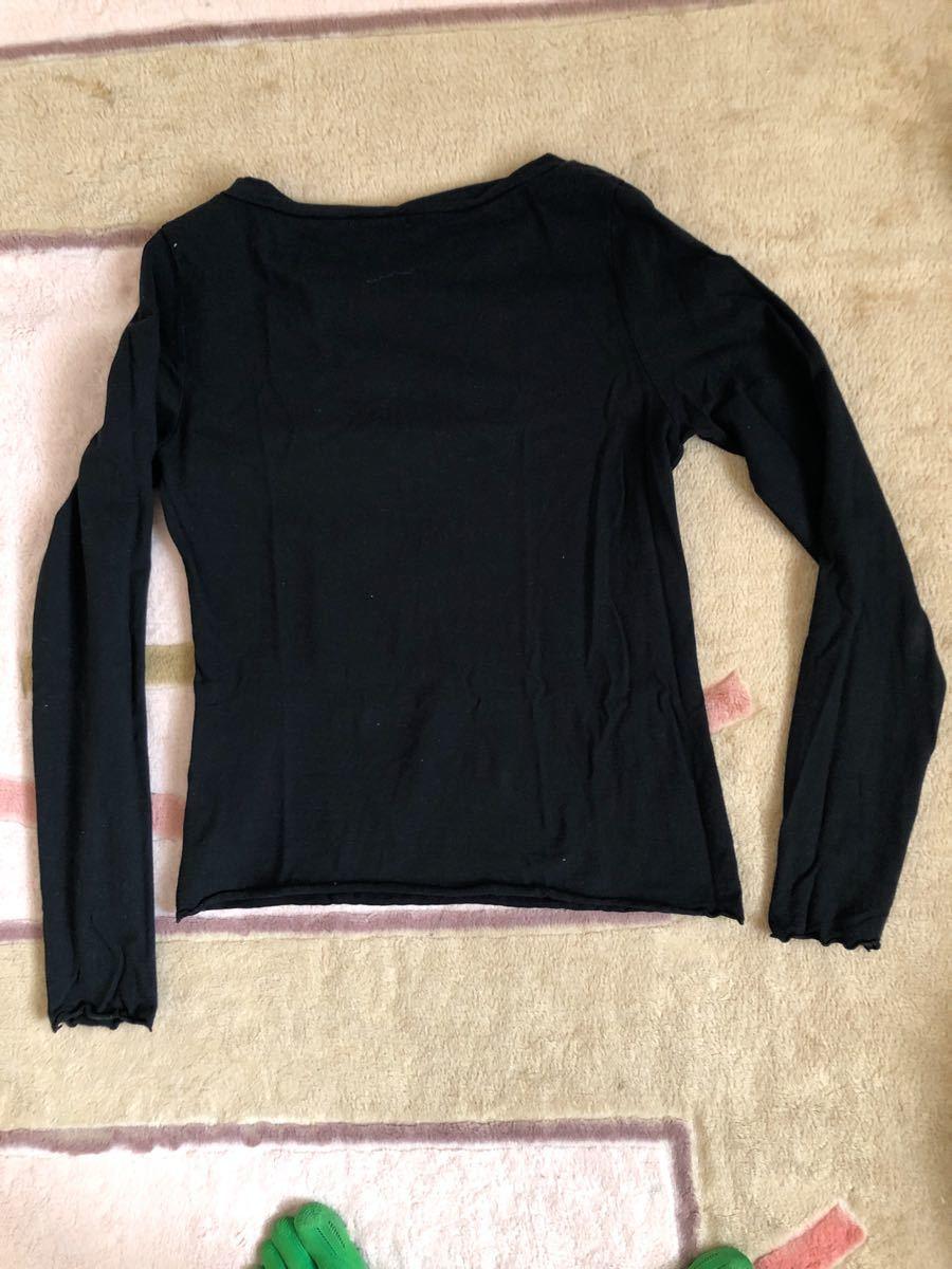 長袖Tシャツ 黒 コットン 長袖Tシャツ 長袖カットソー トップス