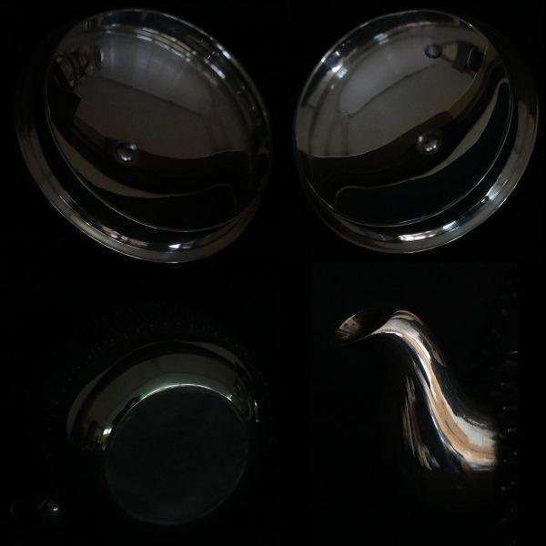 十世中川浄益造 南鐐霰望月湯沸 純銀製銀瓶総重量 832g【黒檀堂】_画像5