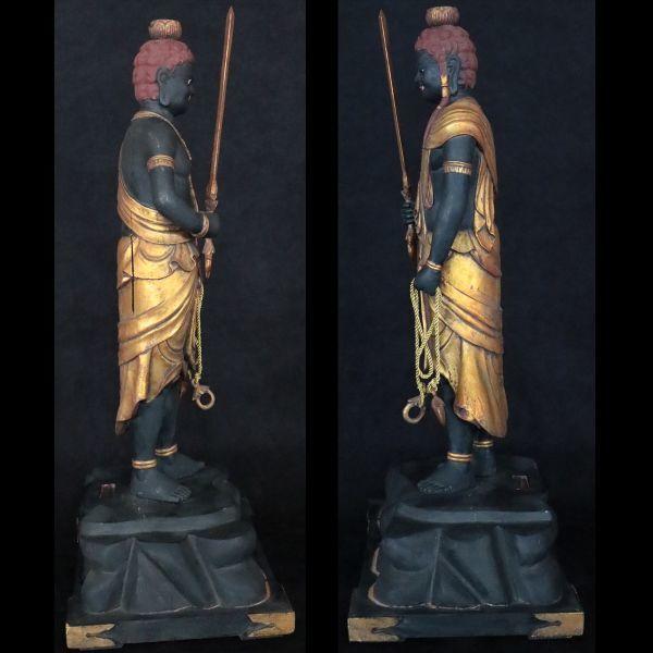 不動明王立像 時代仏教美術 楠木精密彫刻 置物 総高100cm 旧家初出【黒檀堂】_画像9