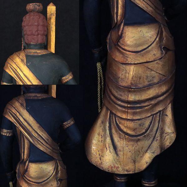 不動明王立像 時代仏教美術 楠木精密彫刻 置物 総高100cm 旧家初出【黒檀堂】_画像7