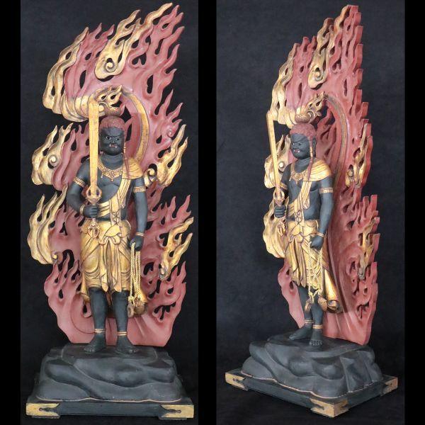 不動明王立像 時代仏教美術 楠木精密彫刻 置物 総高100cm 旧家初出【黒檀堂】_画像2